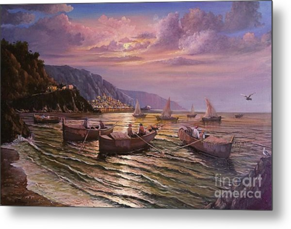 Day Ends On The Amalfi Coast Metal Print
