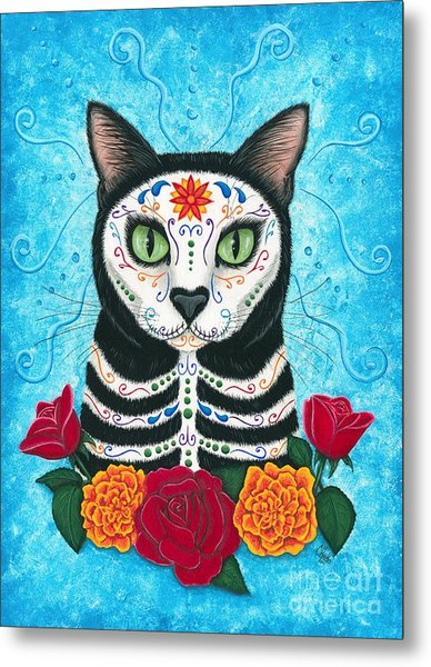 Day Of The Dead Cat - Sugar Skull Cat Metal Print