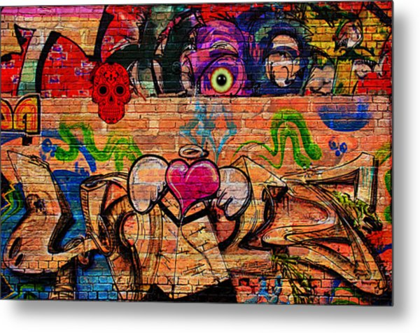 Day Of The Dead Street Graffiti Metal Print