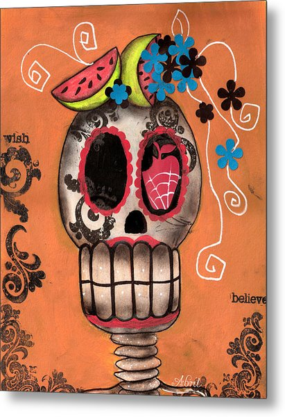 Day Of The Dead Watermelon Metal Print