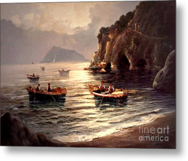 Day's End And Work Begins In The Gulf Of Naples Metal Print