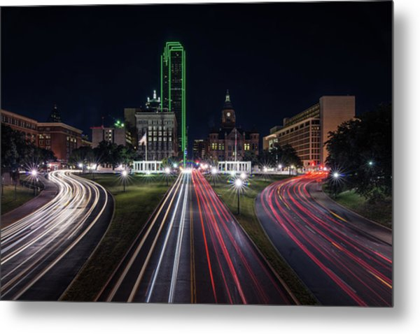 Metal Print featuring the photograph Dealey Plaza Dallas At Night by Todd Aaron