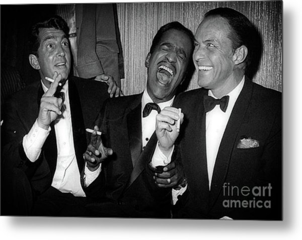 Dean Martin, Sammy Davis Jr. And Frank Sinatra Laughing Metal Print
