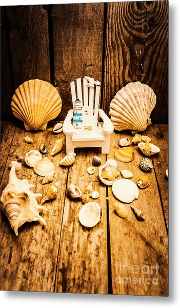 Deckchairs And Seashells Metal Print