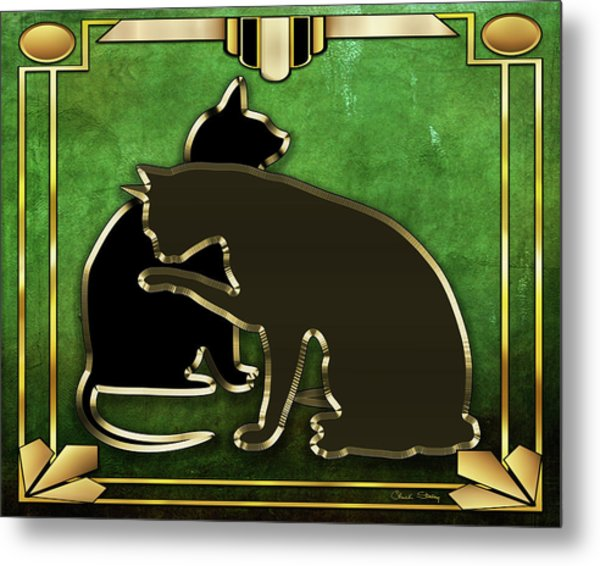 Deco Cats - Emerald Metal Print