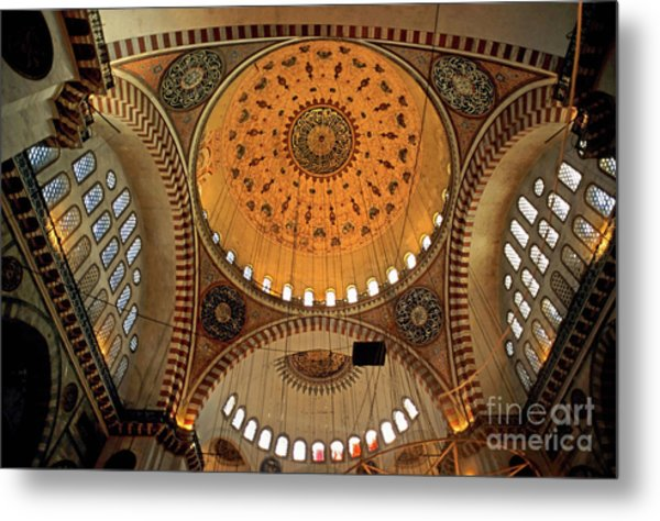 Decorated Dome And Windows Inside The Suleymaniye Mosque In Istanbul Metal Print by Sami Sarkis