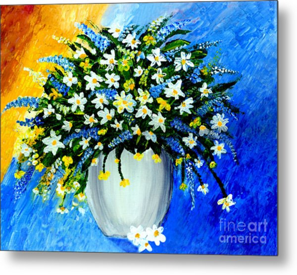 Metal Print featuring the painting Decorative Floral Acrylic Painting G62017 by Mas Art Studio