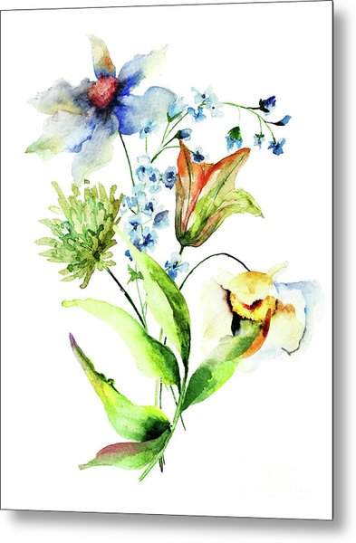 Decorative Flowers Metal Print