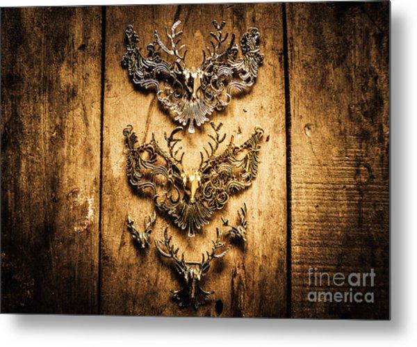 Decorative Moose Emblems Metal Print