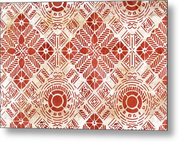 Decorative Vintage Pattern Sanguine Red Metal Print by Frank Tschakert
