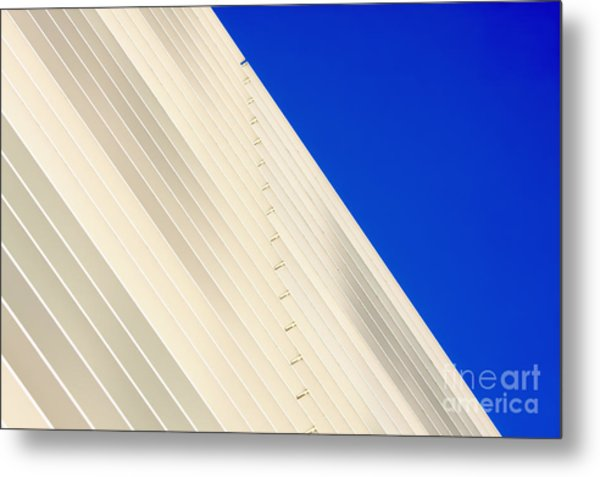 Deep Blue Sky And Office Building Wall Metal Print
