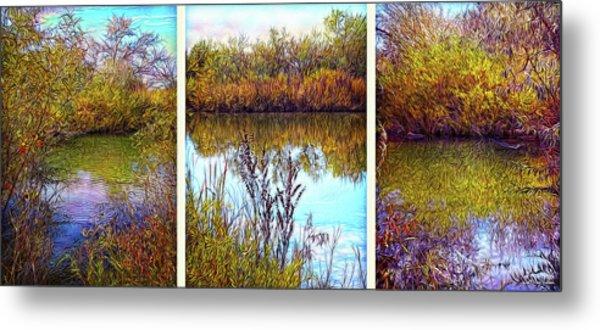 Deep Lake Reflections - Triptych Metal Print