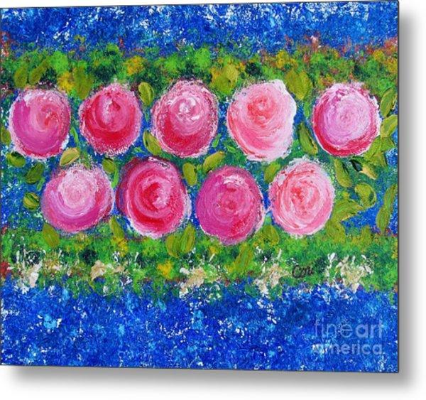 Deep Pink Flowers Metal Print