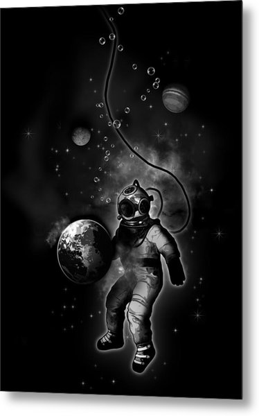Deep Sea Space Diver Metal Print