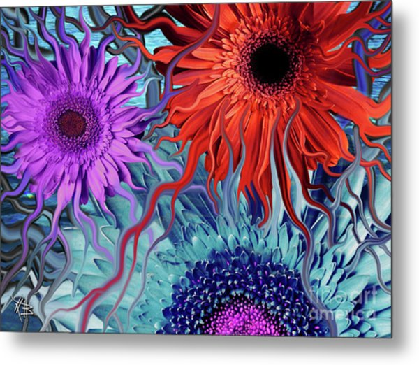 Deep Water Daisy Dance Metal Print