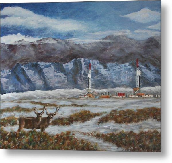 Deer And Drilling Rig Metal Print by Karen Peterson