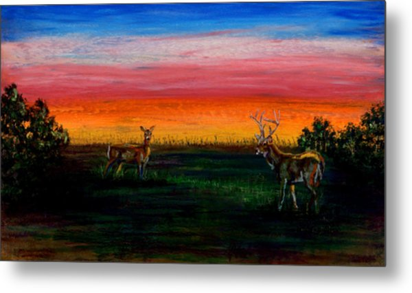 Deer Dawn Metal Print