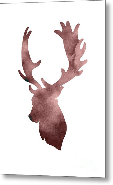 Deer Head Silhouette Minimalist Painting Metal Print