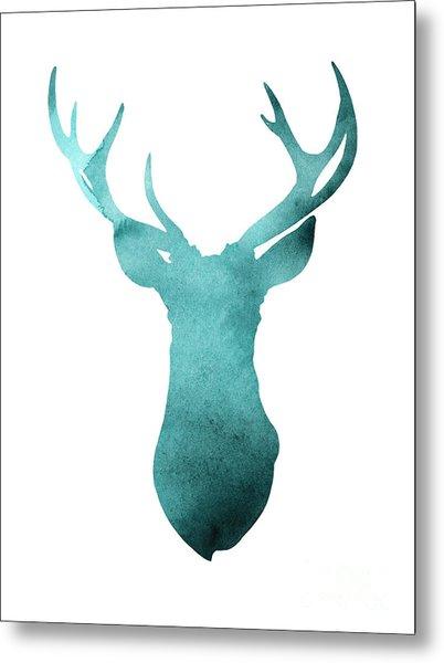 Deer Head Watercolor Giclee Print Metal Print
