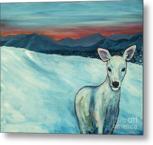 Metal Print featuring the painting Deer Jud by Angelique Bowman