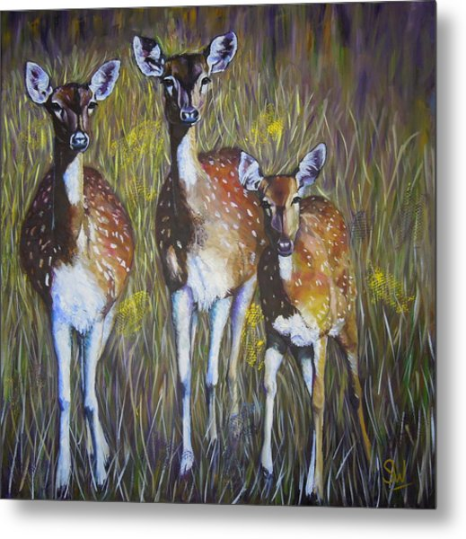 Deer On Guard Metal Print
