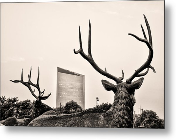 Deer Statues And The Cira Center In Sepia Metal Print