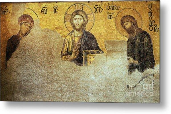 Deesis Mosaic Hagia Sophia-christ Pantocrator-judgement Day Metal Print