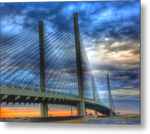 Delaware Bridge At Sunset Metal Print