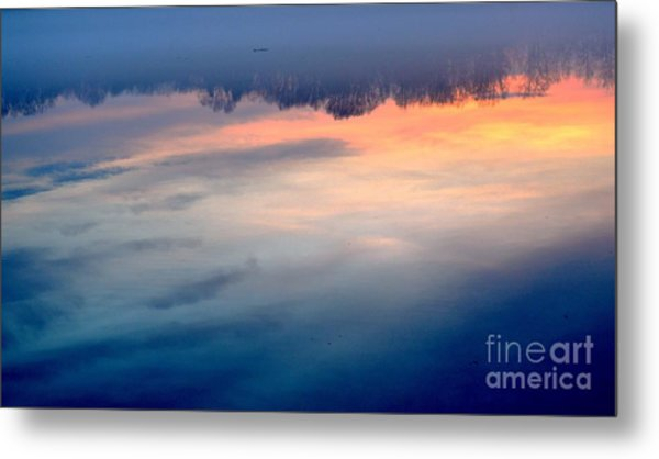 Delaware River Abstract Reflections Foggy Sunrise Nature Art Metal Print