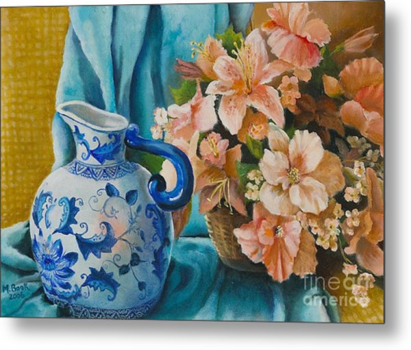 Delft Pitcher With Flowers Metal Print