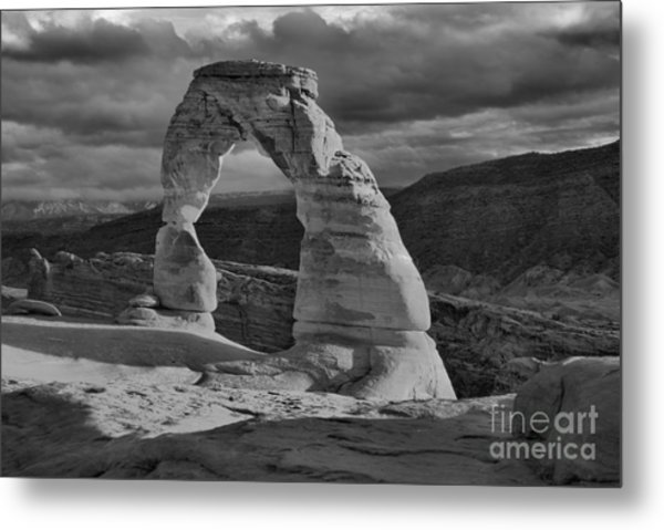 Delicate Arch Black And White Sunset Shadow Metal Print