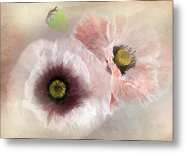 Delicate Pastel Poppies Metal Print
