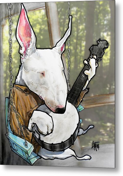 Deliverance Bull Terrier Caricature Art Print Metal Print
