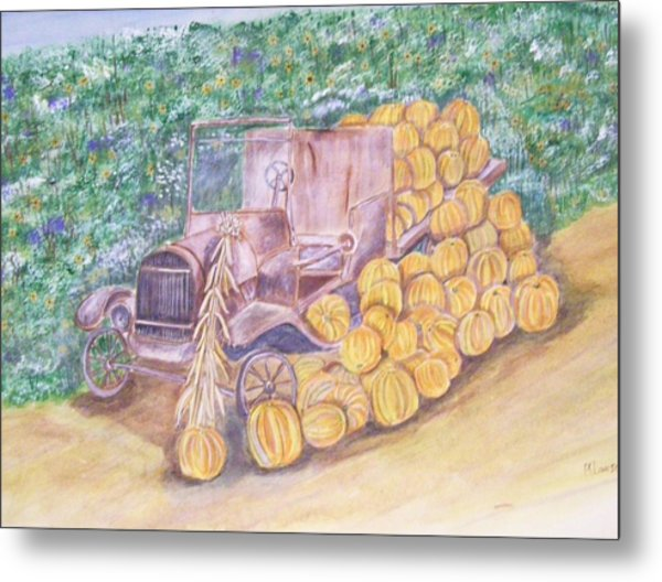 Delivering The Pumpkins Metal Print