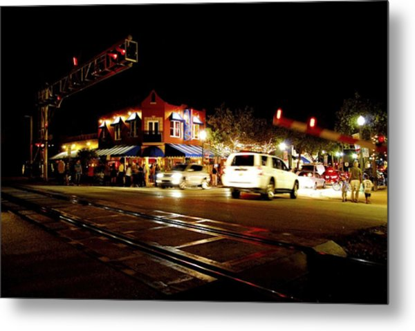 Delray Beach Railroad Crossing Metal Print