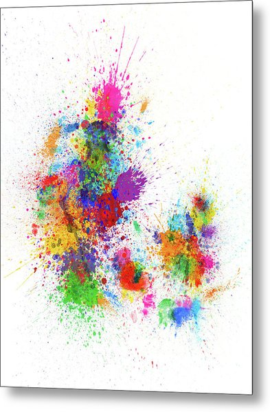 Denmark Paint Splashes Map Metal Print
