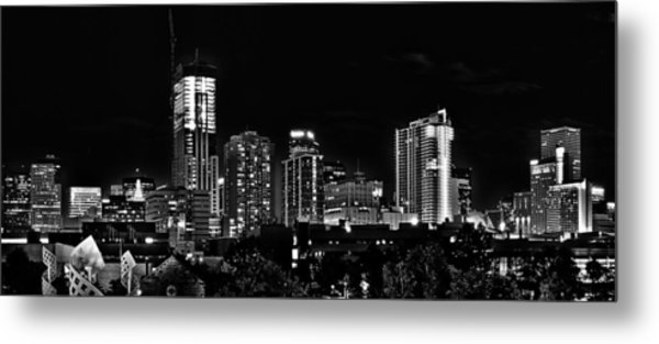 Denver At Night In Black And White Metal Print