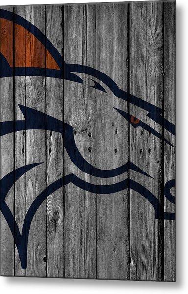 Denver Broncos Wood Fence Metal Print