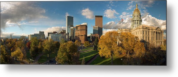 Denver, Colorado, Capitol Skyline Panoramic Metal Print by Steve Mohlenkamp