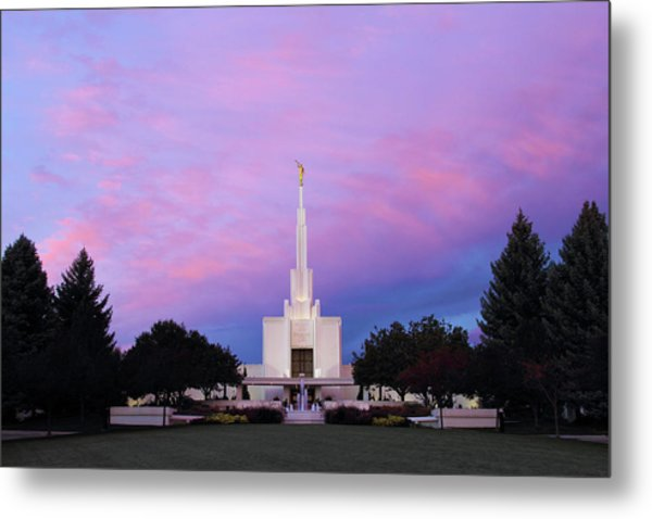 Denver Lds Temple At Sunrise Metal Print