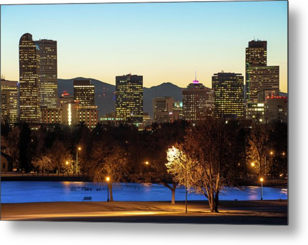 Metal Print featuring the photograph Denver Skyline - City Park View - Cool Blue by Gregory Ballos