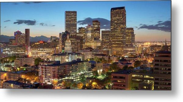 Denver Skyline Evening Panoramic Metal Print by Steve Mohlenkamp