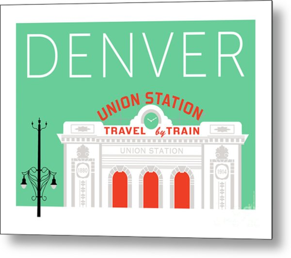 Denver Union Station/aqua Metal Print