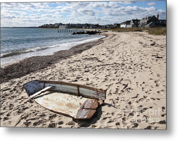 Derelict  Boat, Falmouth Beach Metal Print by Bryan Attewell
