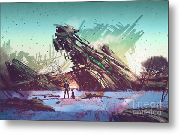 Metal Print featuring the painting Derelict Ship by Tithi Luadthong