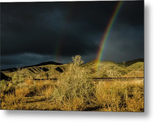 Desert Double Rainbow Metal Print