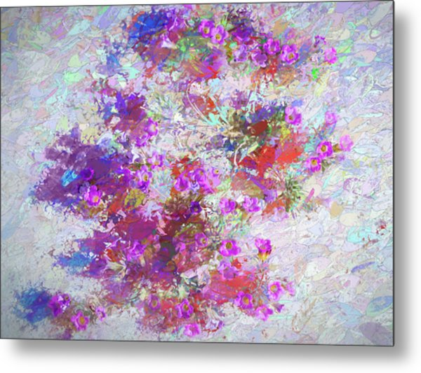 Metal Print featuring the painting Desert Flowers Abstract 3 by Penny Lisowski