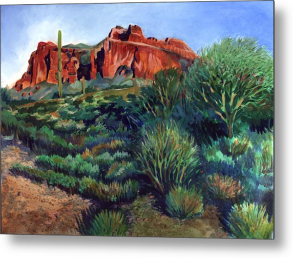Desert Mountain Tapestry Metal Print by Kent Looft