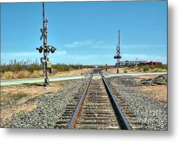 Desert Railway Crossing Metal Print