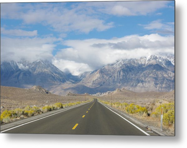Deserted Road To Mt. Whitney Metal Print
